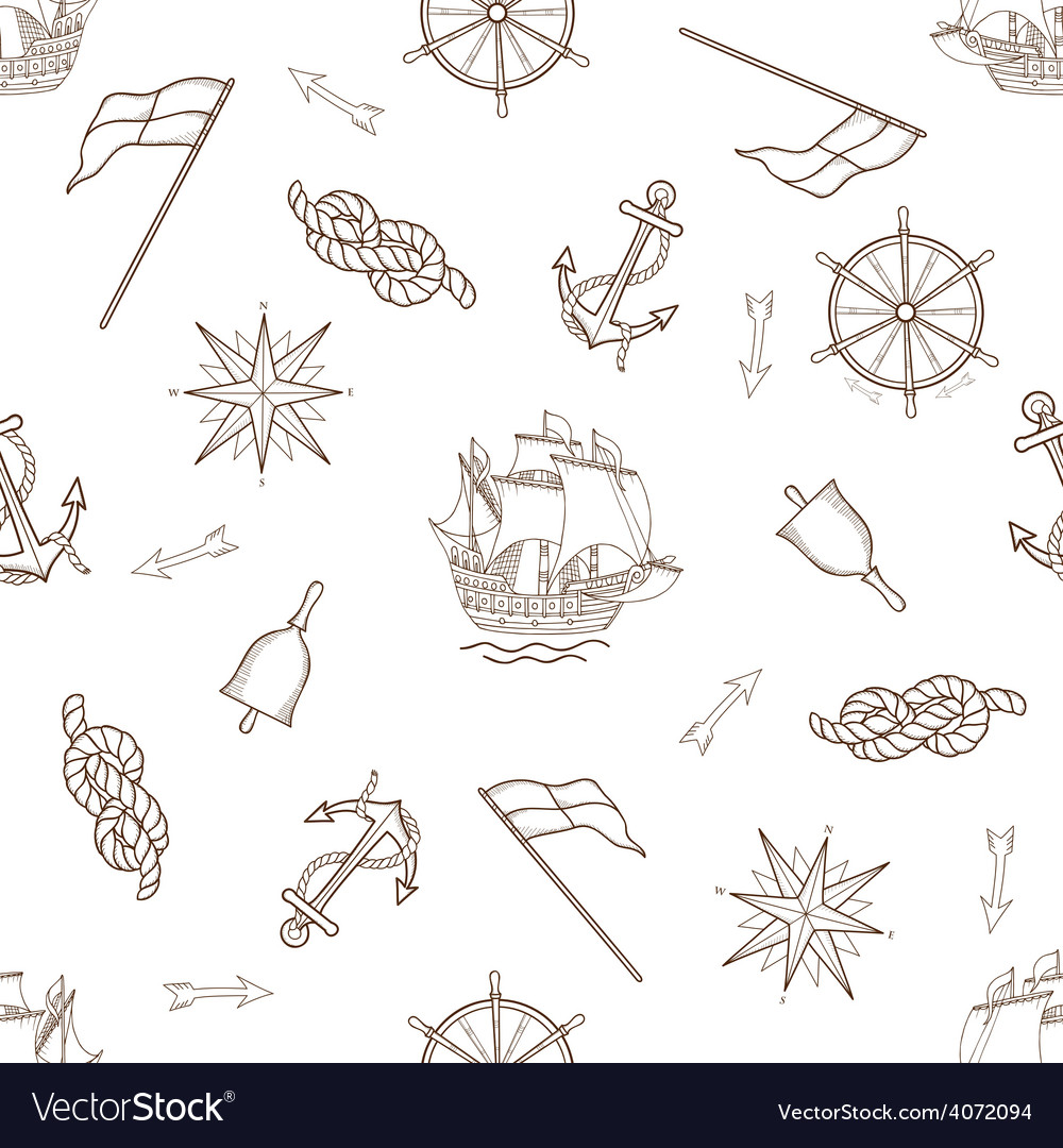 Set of nautical design elements seamless pattern vector | Price: 1 Credit (USD $1)