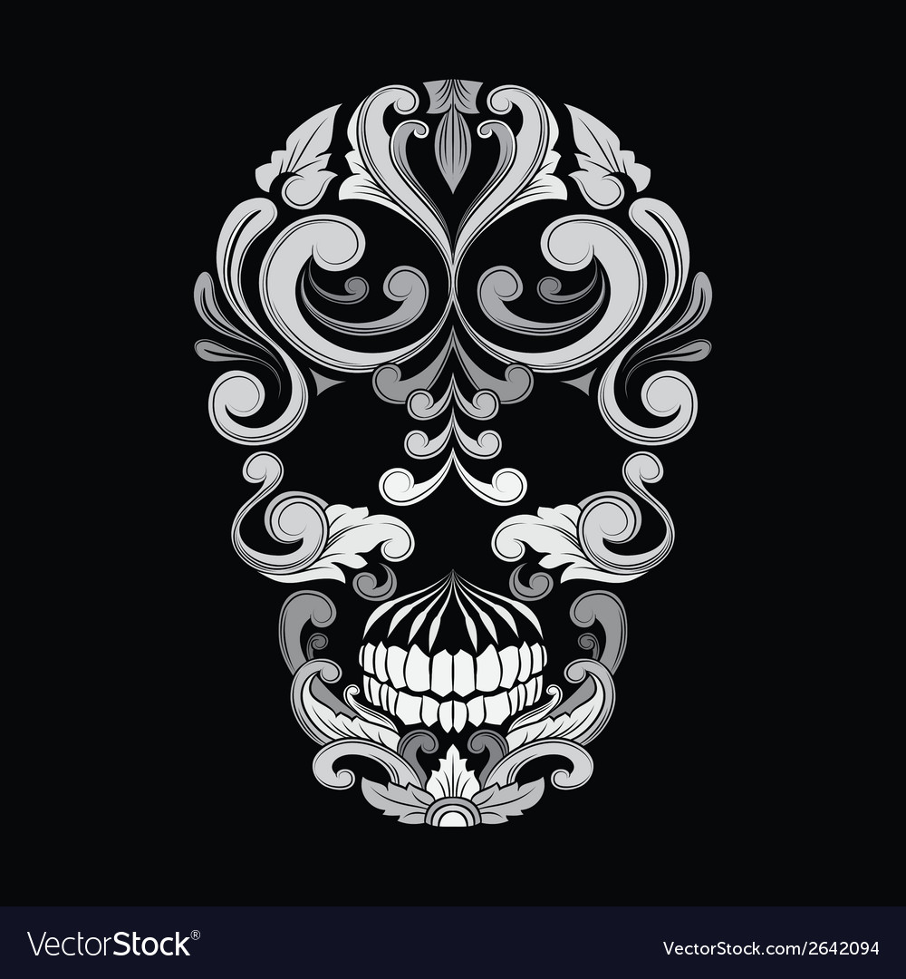 Skull ornamental indonesian style vector | Price: 1 Credit (USD $1)