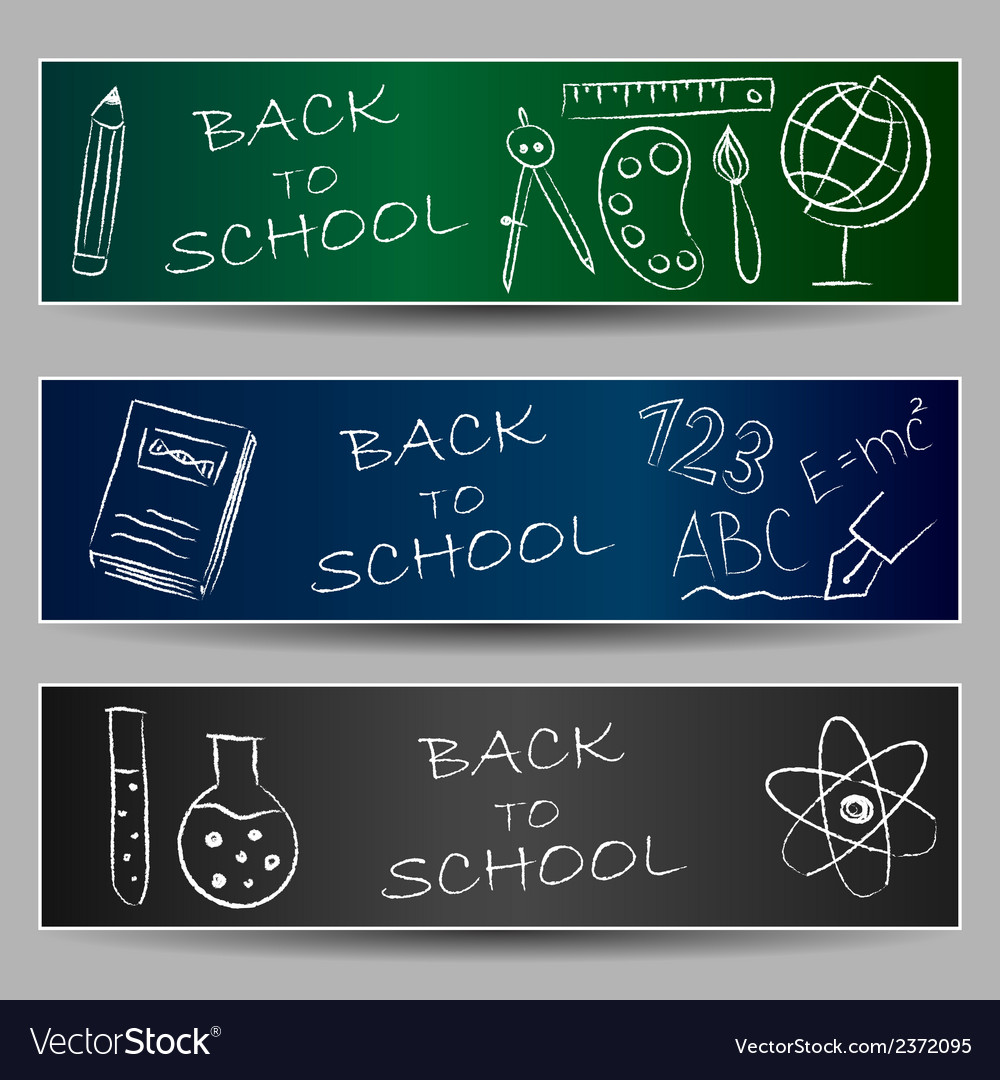 Back to school doodles on banners vector | Price: 1 Credit (USD $1)