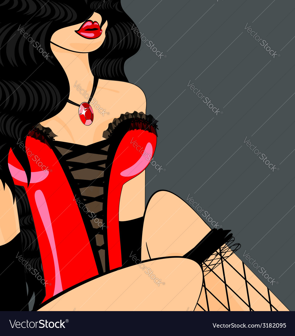 Brunette in red corset vector | Price: 1 Credit (USD $1)