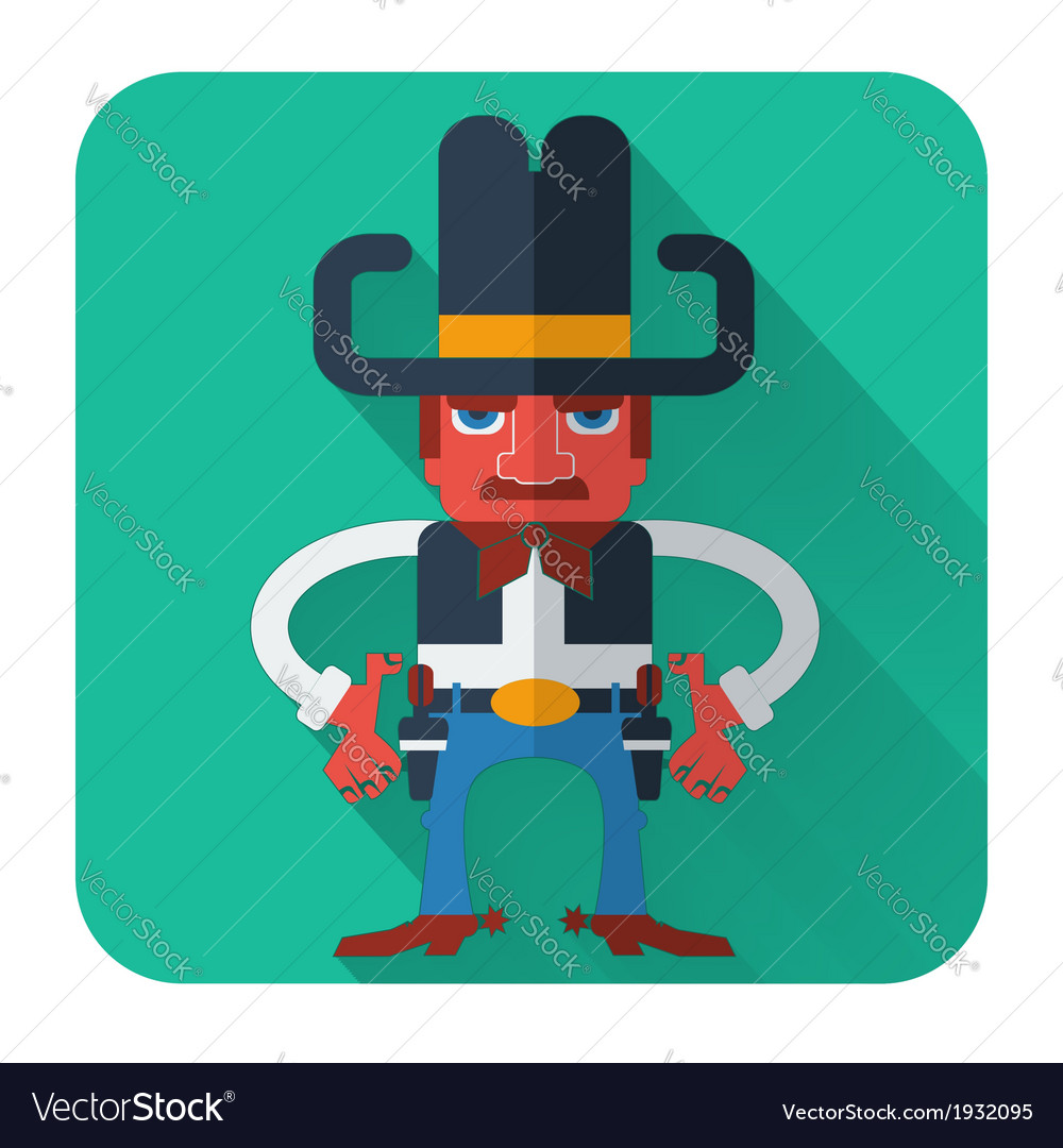 Cowboy with guns flat style icon vector | Price: 1 Credit (USD $1)