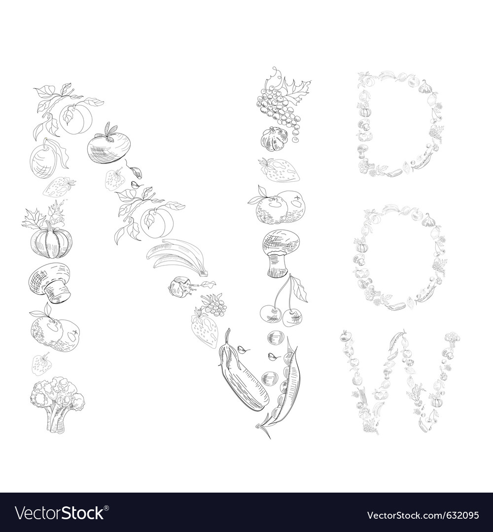 Decorative font with fruit and vegetable letter n vector | Price: 1 Credit (USD $1)
