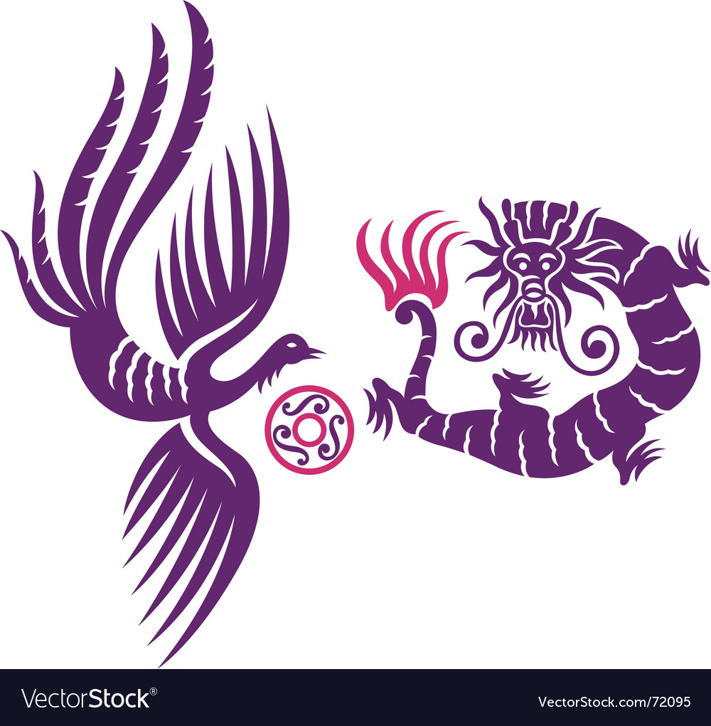 Dragon and phoenix fly vector | Price: 1 Credit (USD $1)