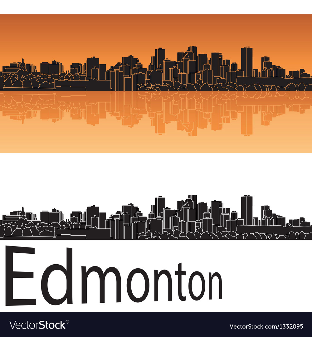Edmonton skyline in orange background vector | Price: 1 Credit (USD $1)