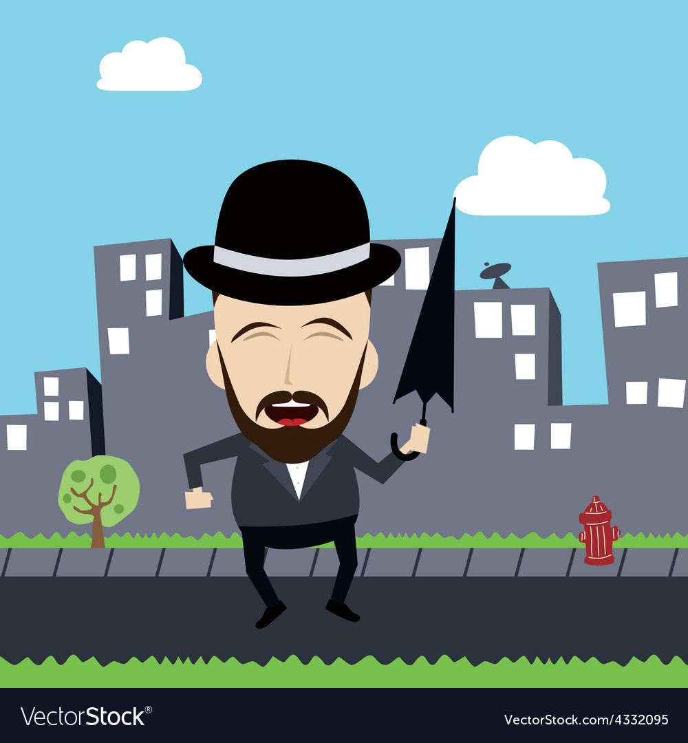 Fun guy with umbrella and bowl hat vector | Price: 1 Credit (USD $1)