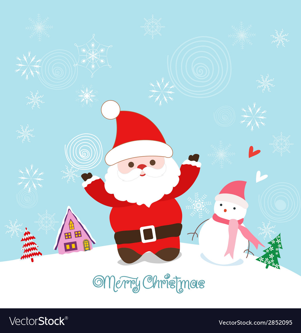 Merry christmas card with santa claus snowman and vector | Price: 1 Credit (USD $1)