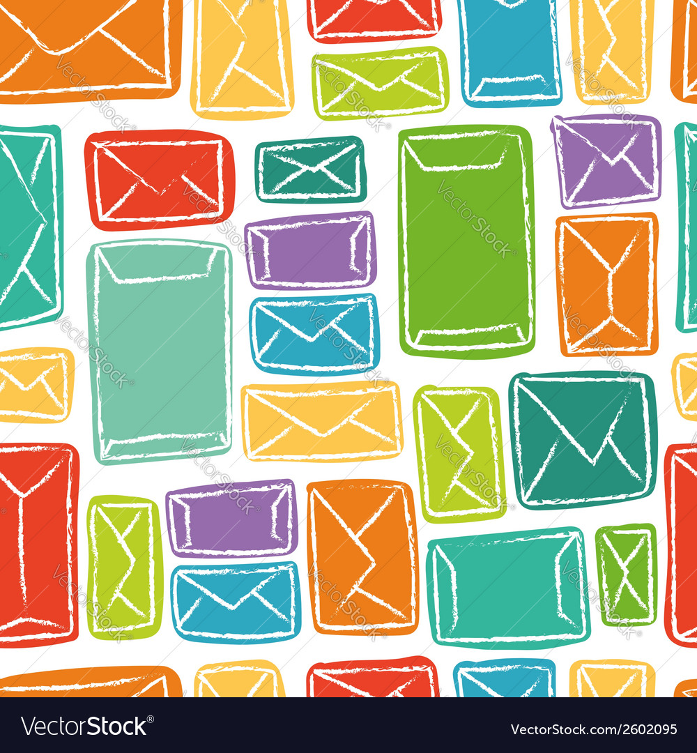 Seamless pattern - many colorful envelopes vector | Price: 1 Credit (USD $1)