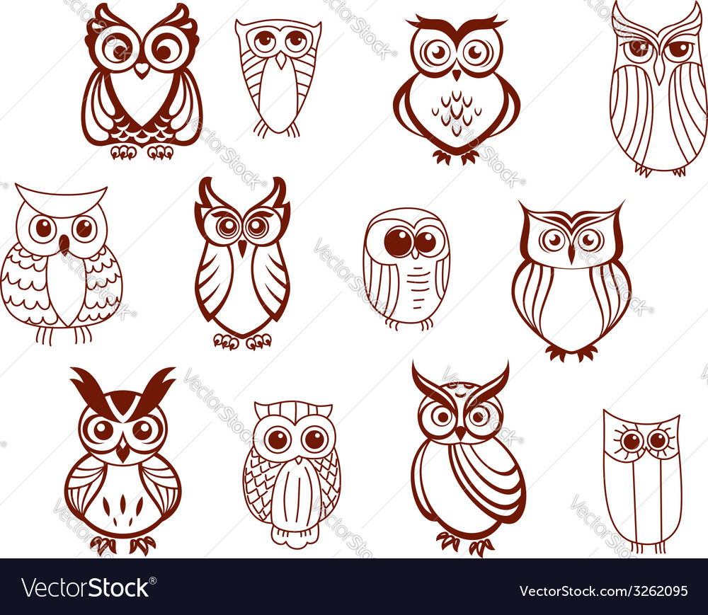 Set of owls vector | Price: 1 Credit (USD $1)