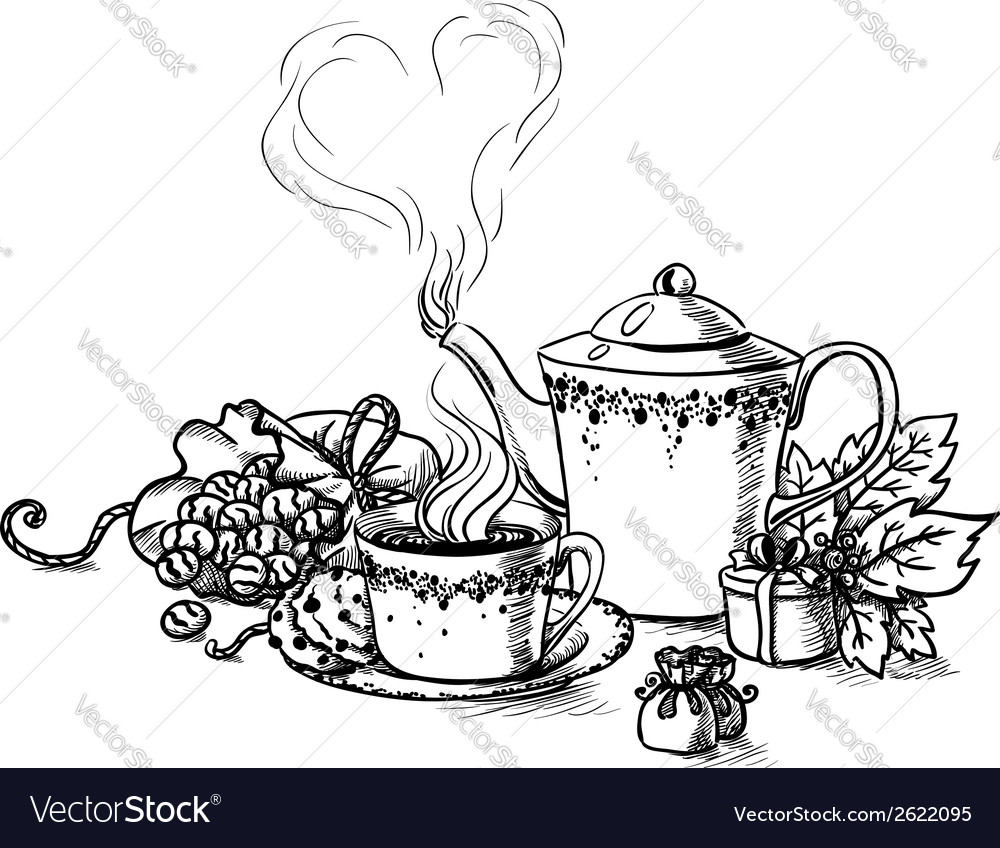 Set of tea cup in vintage style stylized vector | Price: 1 Credit (USD $1)
