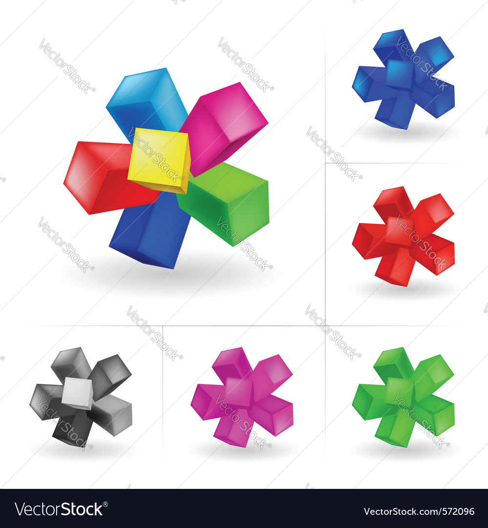 Abstract colored cubes set vector | Price: 1 Credit (USD $1)