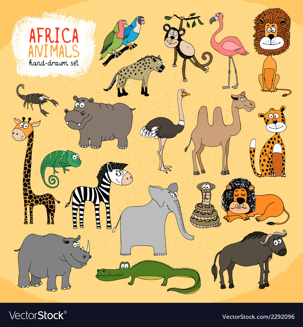 Animals of africa hand-drawn vector | Price: 1 Credit (USD $1)