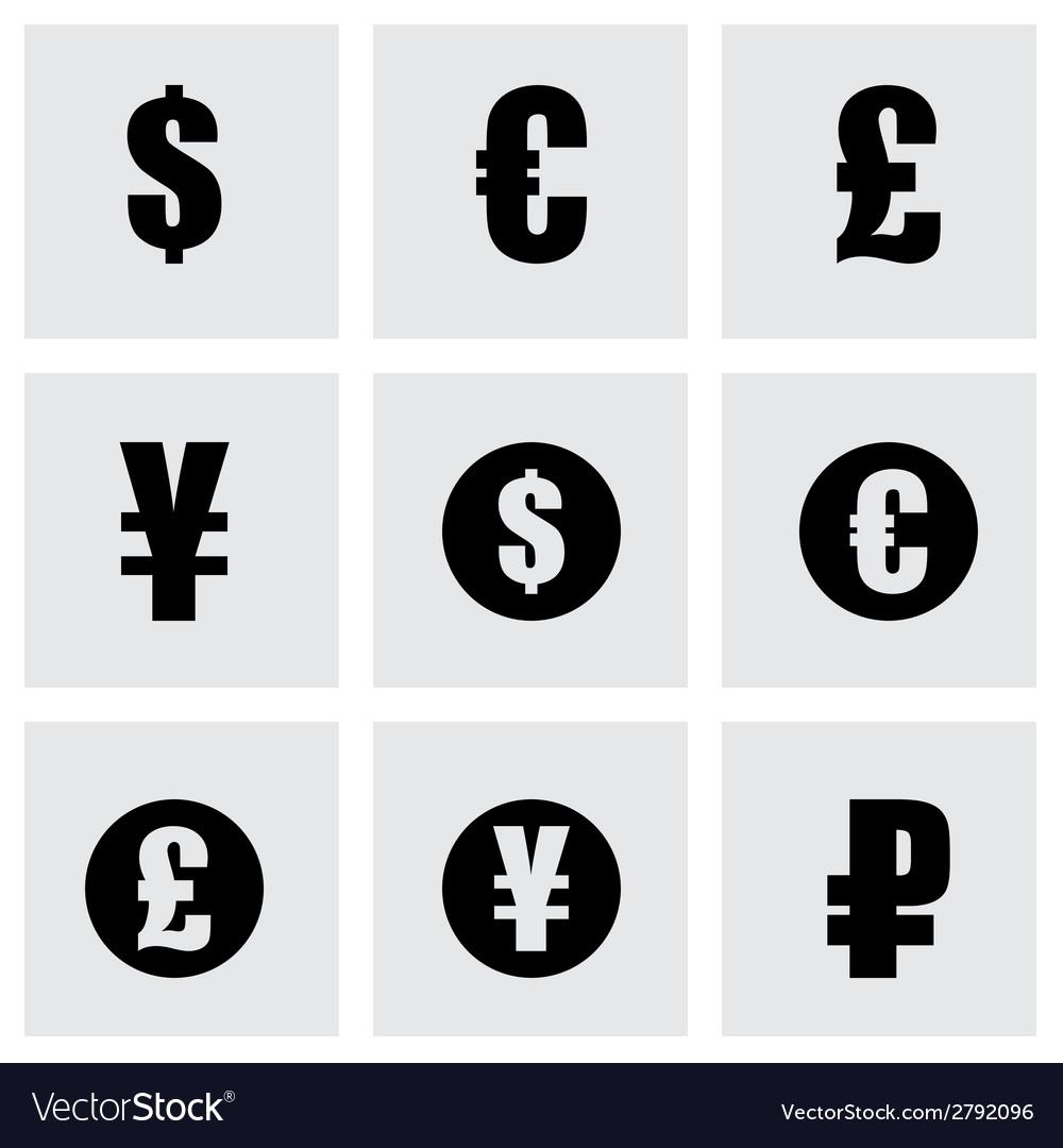 Black currency symbols icons set vector   Price: 1 Credit (USD $1)