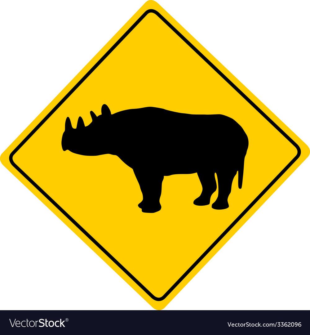 Black rhino warning sign vector | Price: 1 Credit (USD $1)