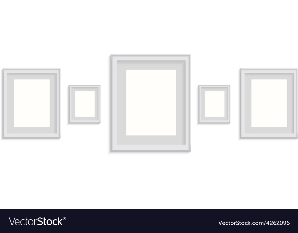 Blank picture frame template set isolated on wall vector | Price: 1 Credit (USD $1)