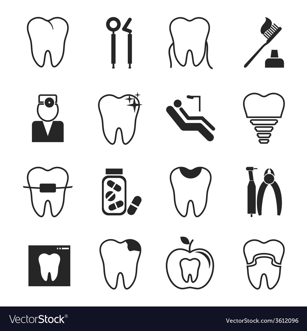 Dental icons set vector | Price: 1 Credit (USD $1)