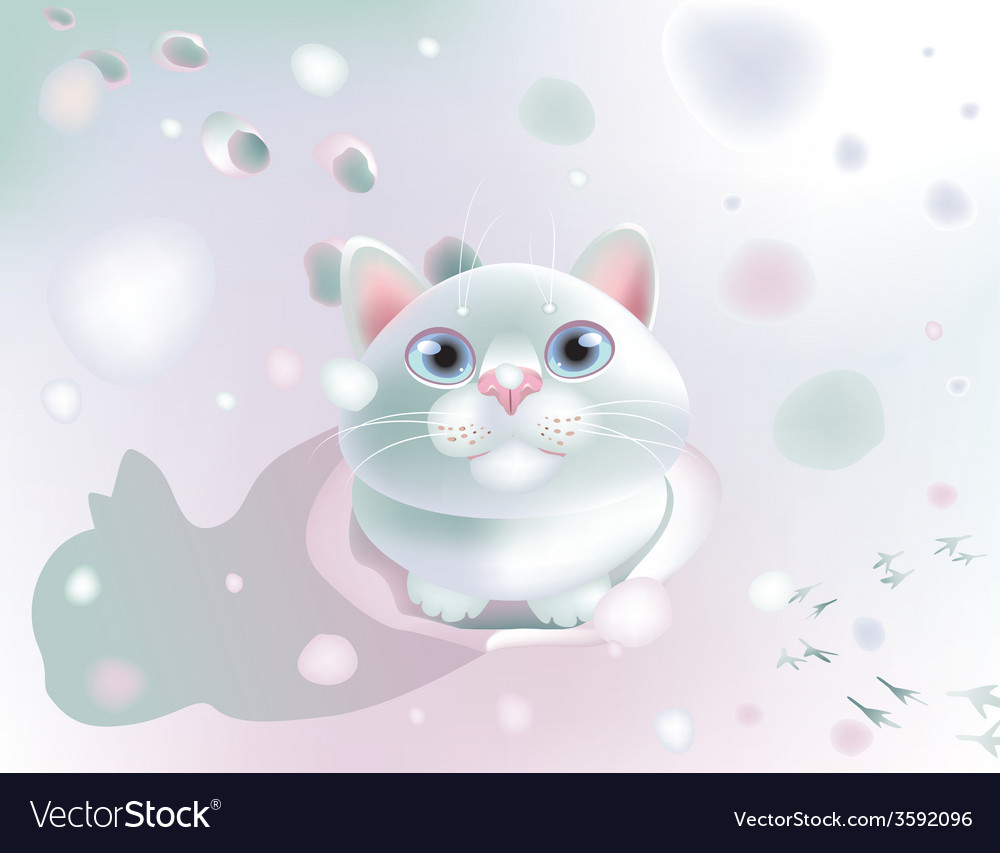 Fluffy on snow vector | Price: 5 Credit (USD $5)