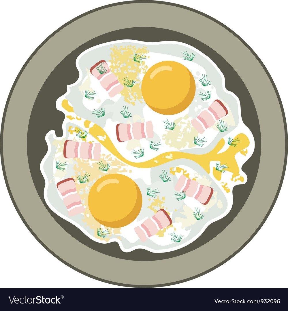 Fried eggs with bacon vector | Price: 1 Credit (USD $1)