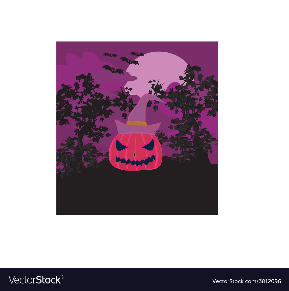 Halloween background with pumpkin and bat abstract vector | Price: 1 Credit (USD $1)