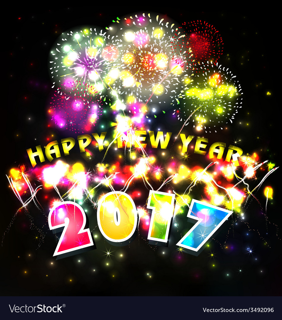 Happy new year with fireworks vector | Price: 1 Credit (USD $1)