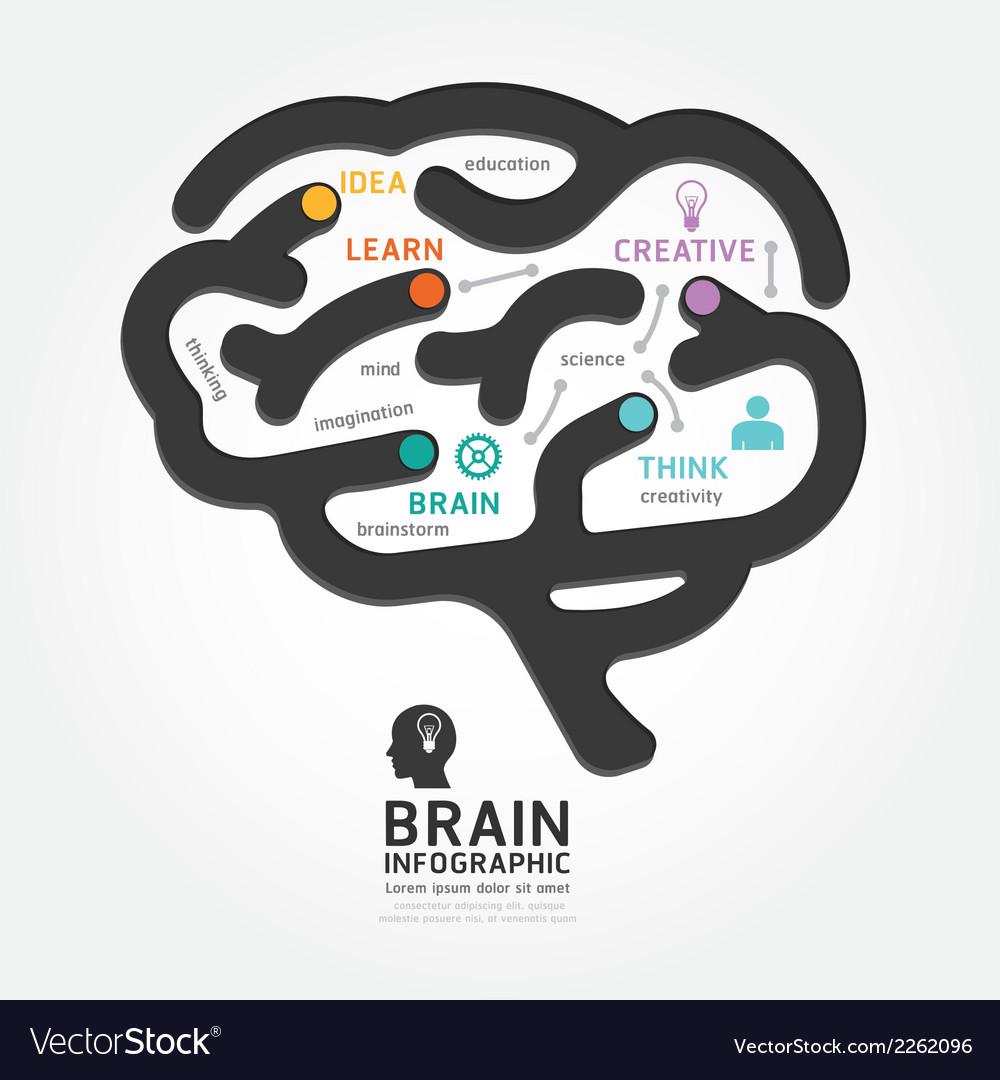 Infographics brain design diagram line style vector | Price: 1 Credit (USD $1)