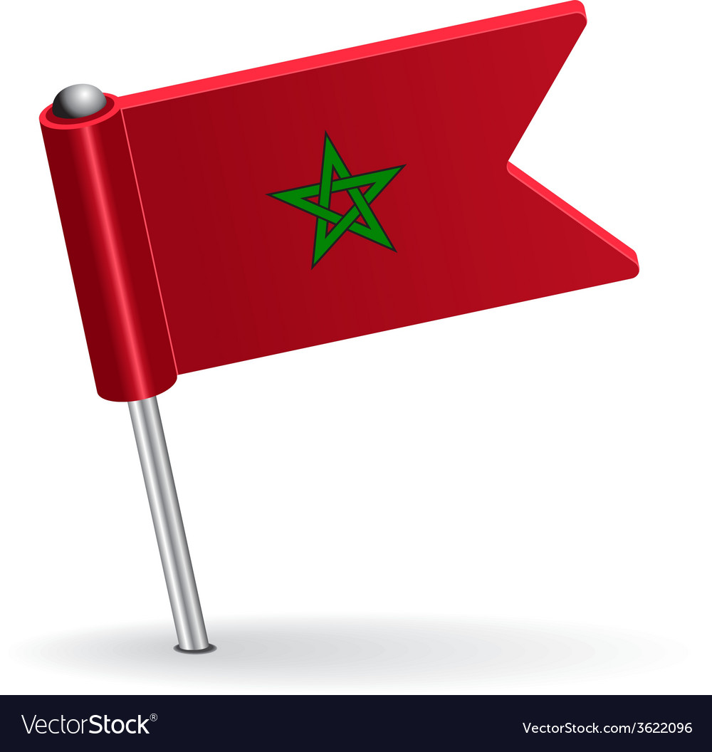 Moroccan pin icon flag vector | Price: 1 Credit (USD $1)