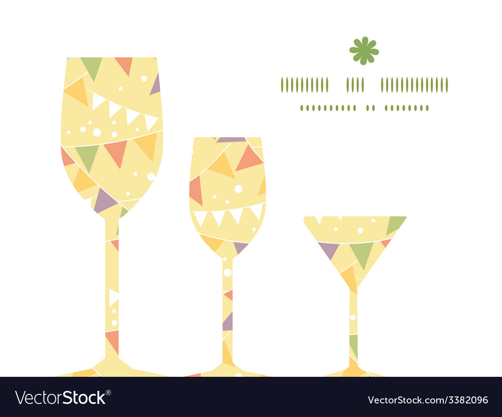 Party decorations bunting three wine glasses vector | Price: 1 Credit (USD $1)