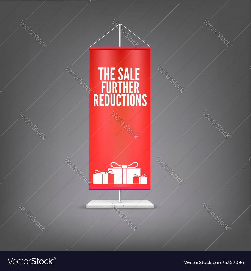 The sale further reductions vertical red flag at vector | Price: 1 Credit (USD $1)
