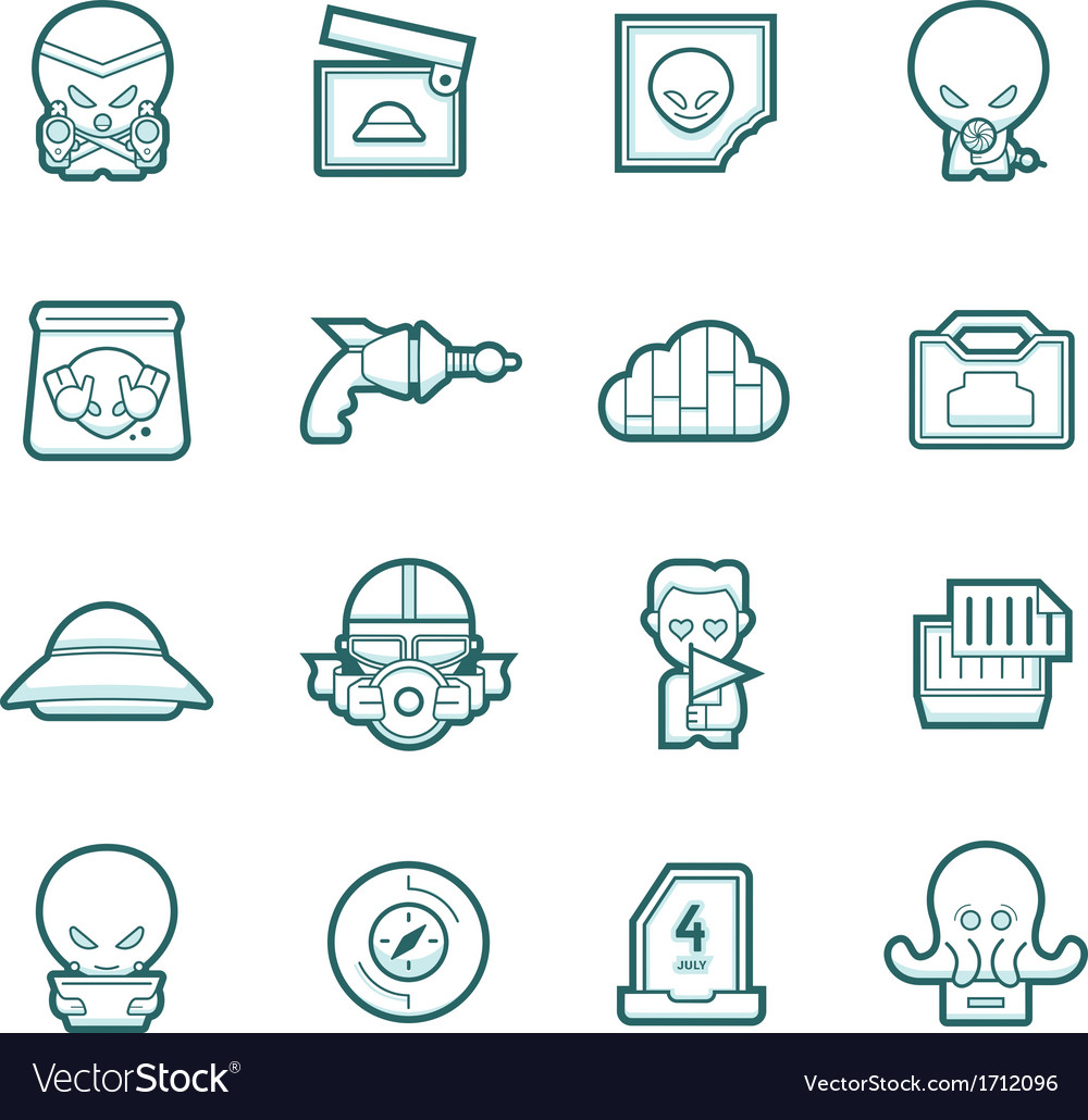 Science fiction icons vector | Price: 1 Credit (USD $1)