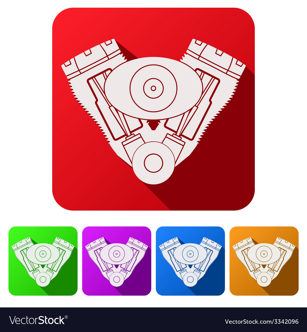 Set flat icons of motorcycle engine vector | Price: 1 Credit (USD $1)