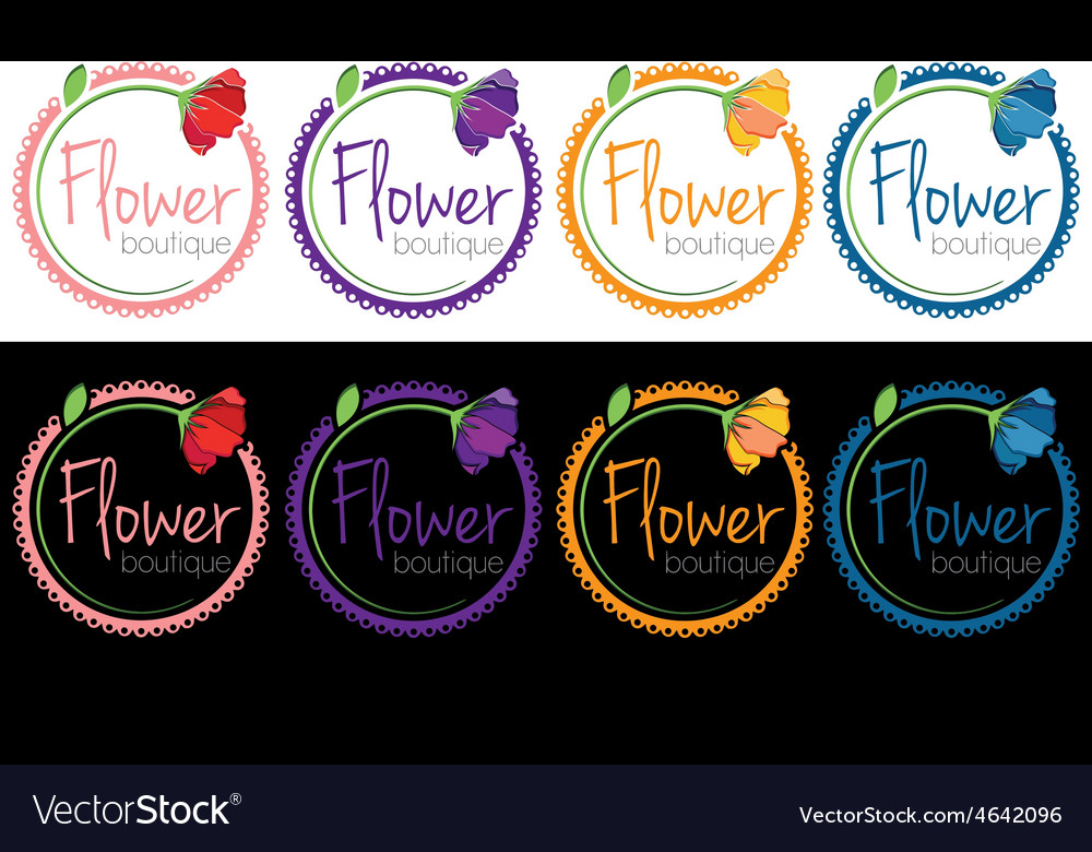 Set of emblems of flower boutique vector   Price: 1 Credit (USD $1)