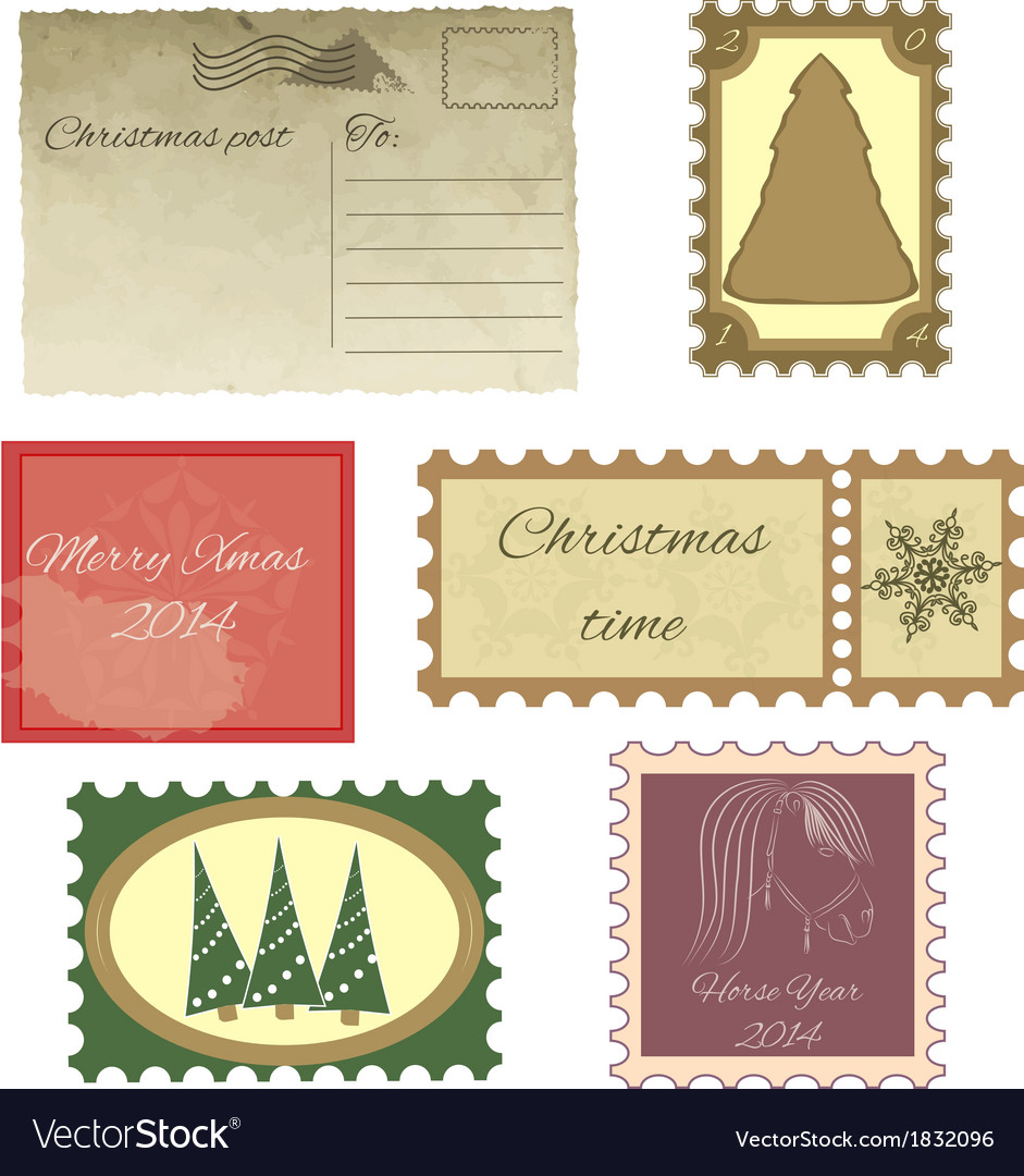 Set of vintage stamps and vintage postcard vector | Price: 1 Credit (USD $1)