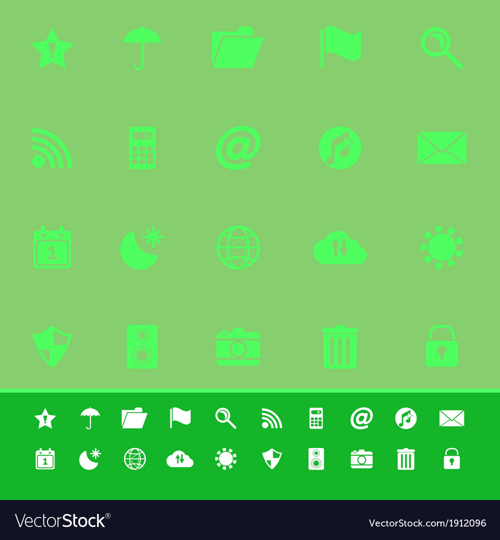 Tool bar color icons on green background vector | Price: 1 Credit (USD $1)