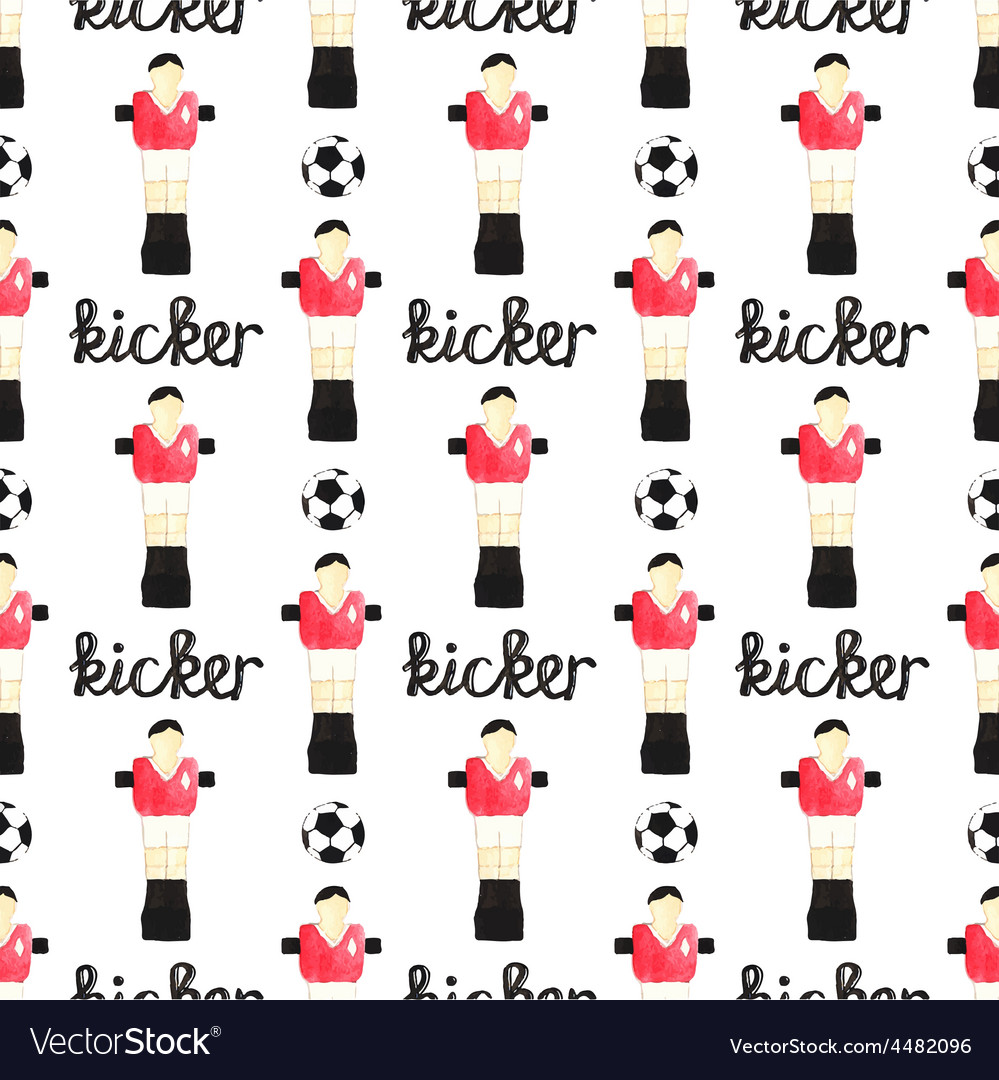 Watercolor seamless pattern with ball foosball vector | Price: 1 Credit (USD $1)