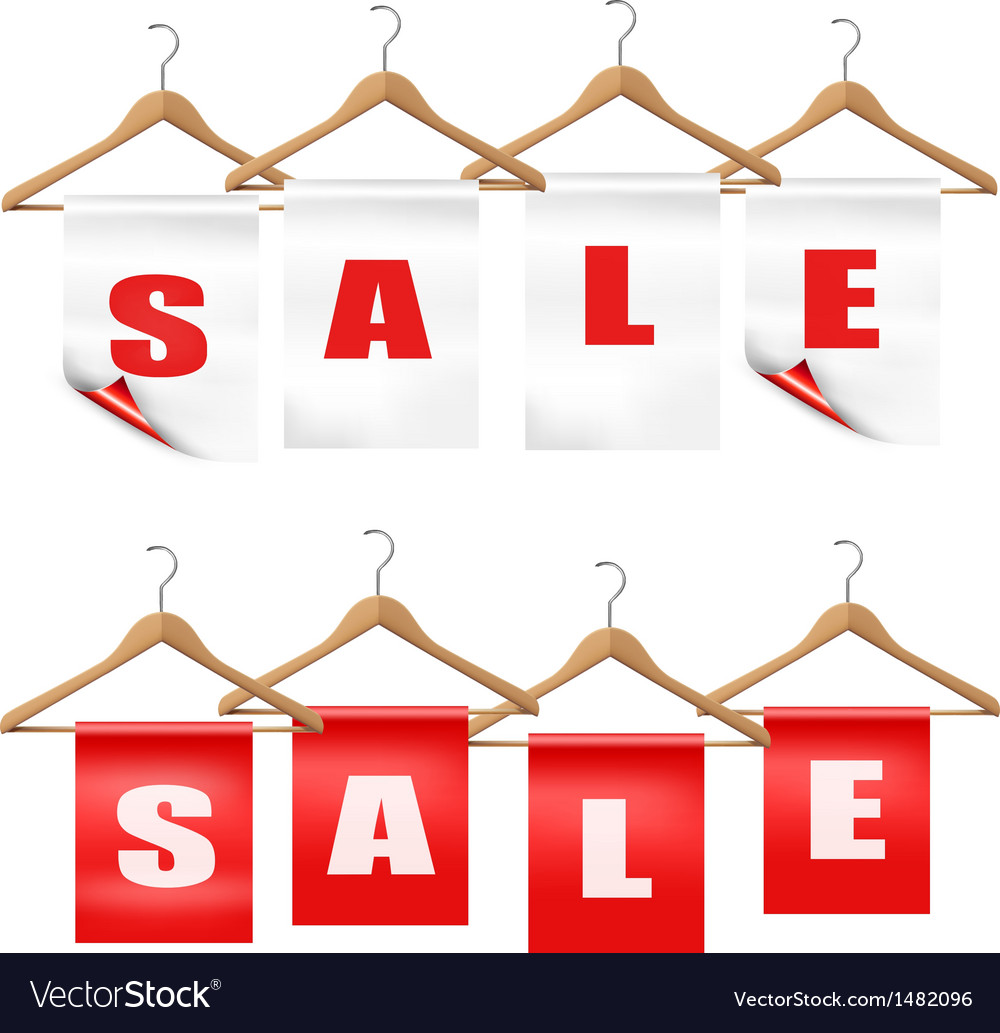 Wooden hangers with sale tags discount concept vector | Price: 1 Credit (USD $1)