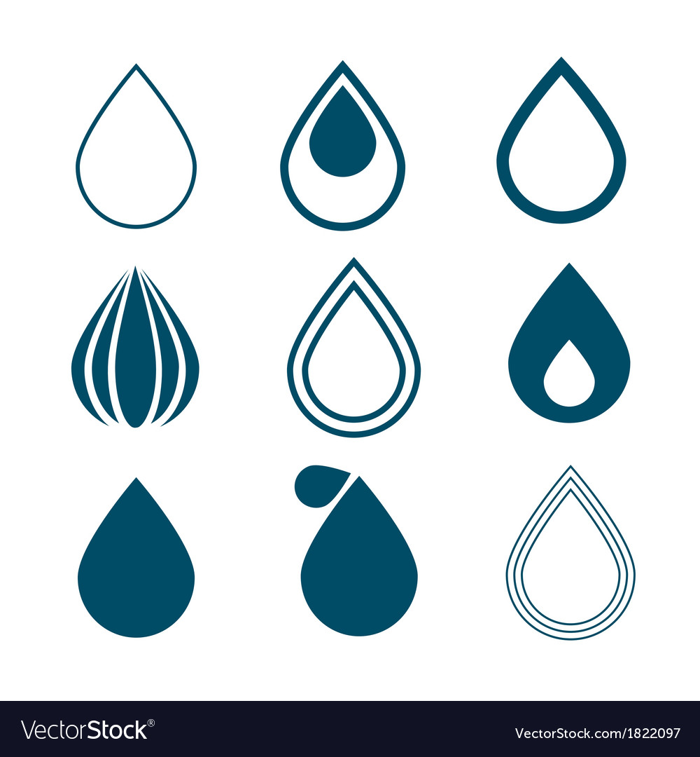 Blue water drops symbols set isolated on white vector | Price: 1 Credit (USD $1)
