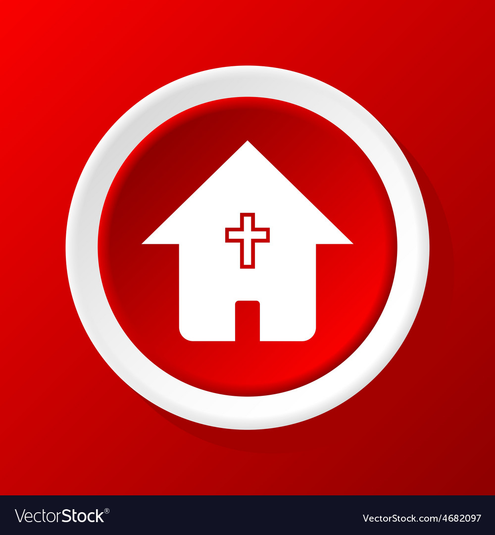 Christian house icon on red vector | Price: 1 Credit (USD $1)