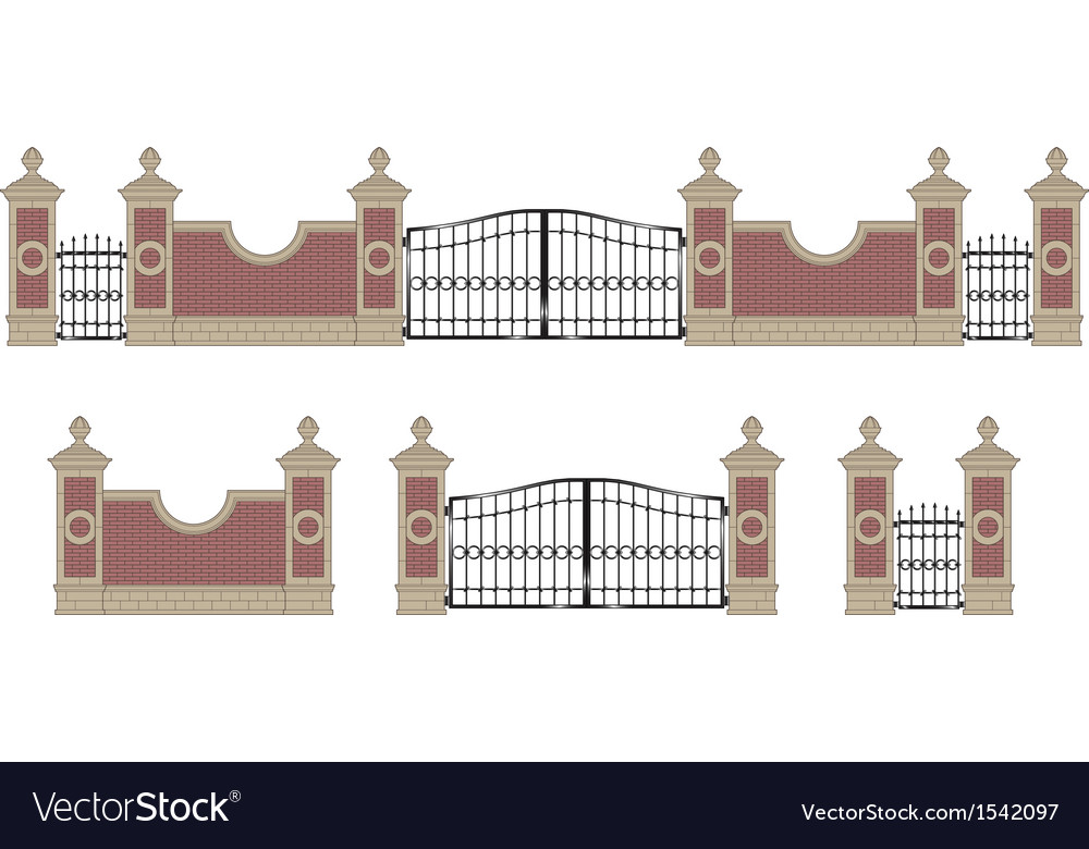 Forged iron gate with pillars vector | Price: 1 Credit (USD $1)