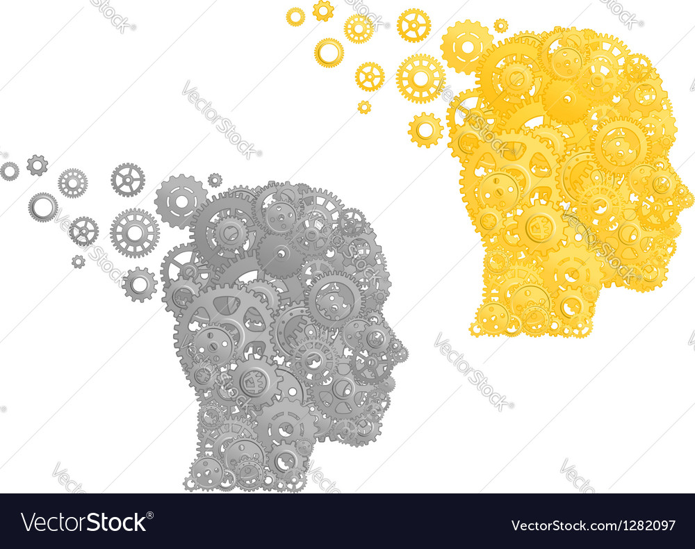 Human head with gears and pinions vector | Price: 1 Credit (USD $1)