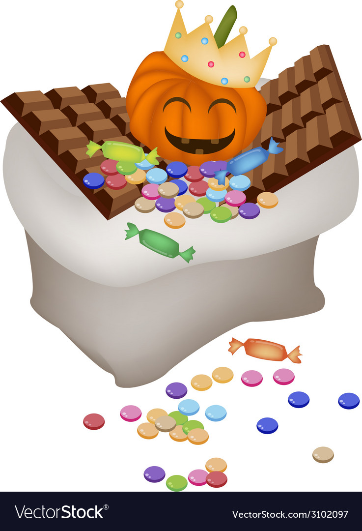 Jack-o-lantern pumpkins with candies and chocolate vector | Price: 1 Credit (USD $1)
