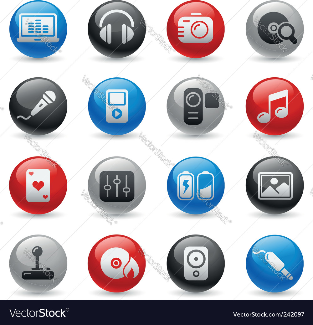 Media and entertainment icons vector | Price: 1 Credit (USD $1)