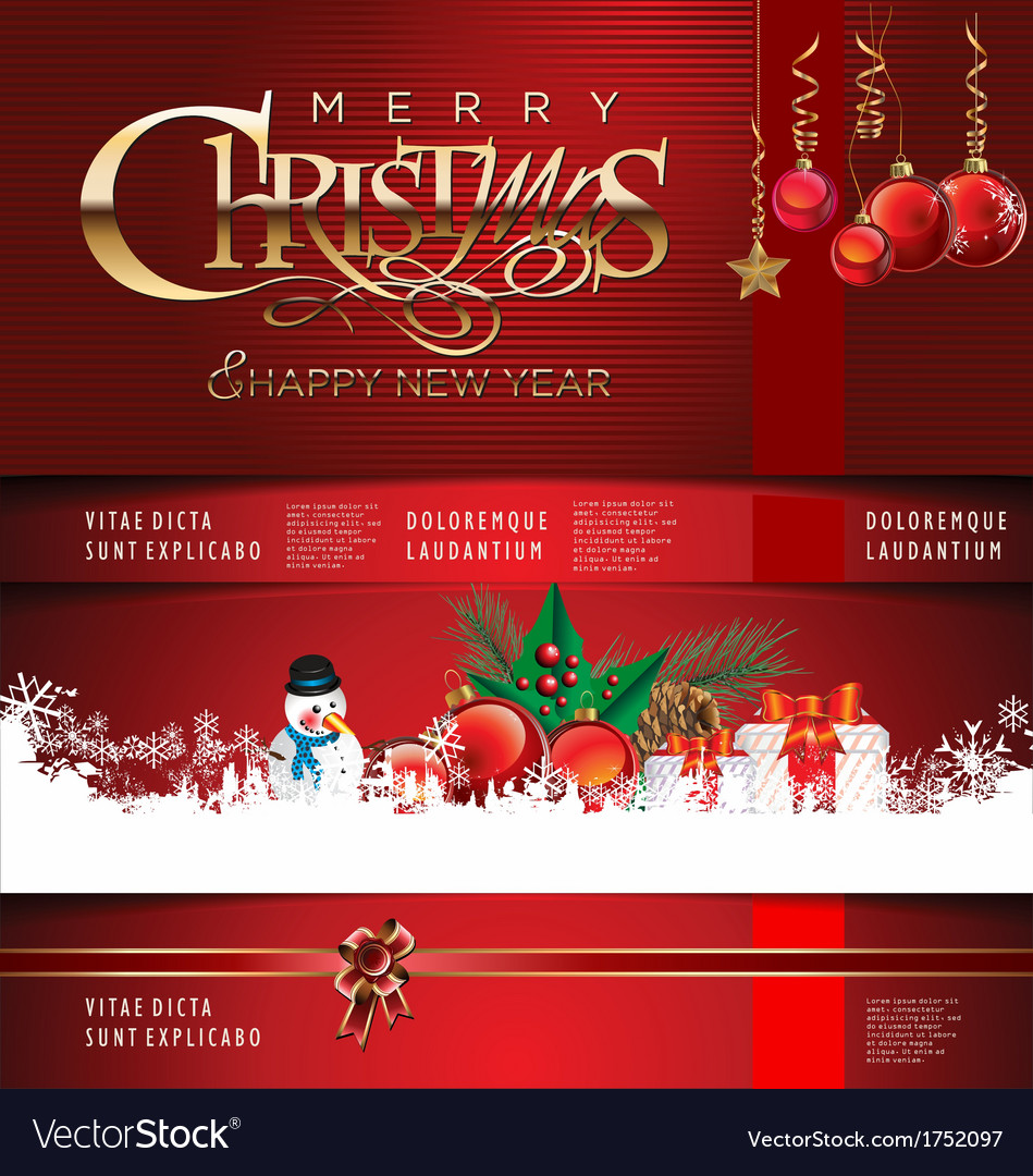 Modern christmas red background vector | Price: 1 Credit (USD $1)
