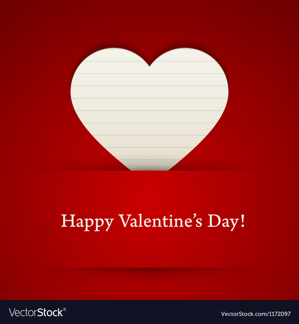 Valentines day card with paper heart vector | Price: 1 Credit (USD $1)
