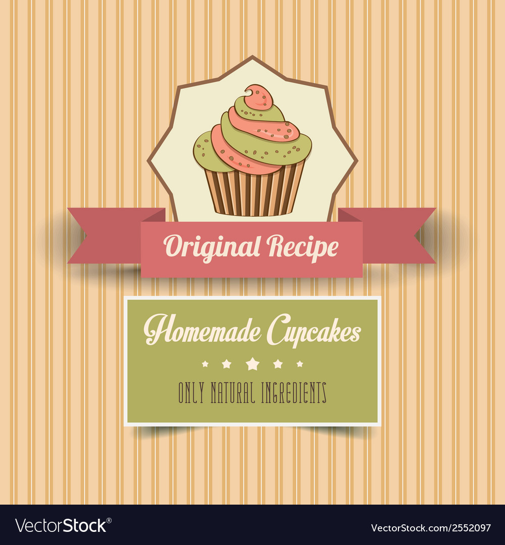 Vintage homemade cupcakes poster vector | Price: 1 Credit (USD $1)
