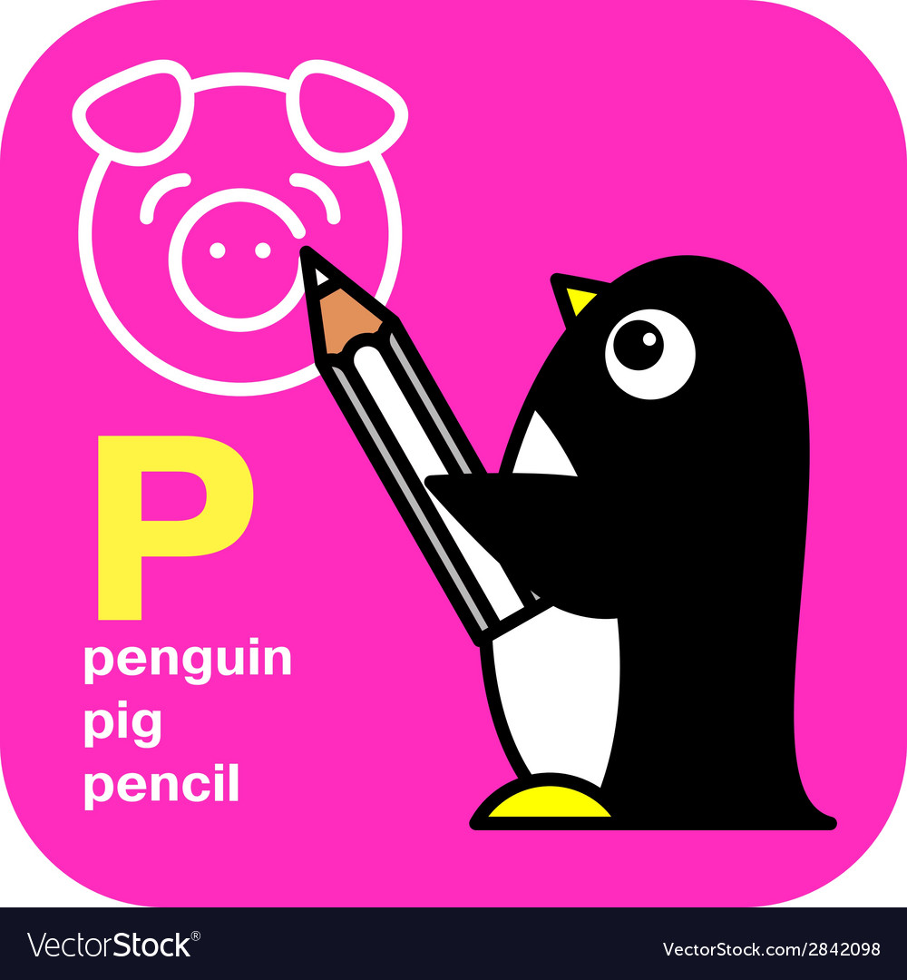 Abc penguin pig pencil vector | Price: 1 Credit (USD $1)
