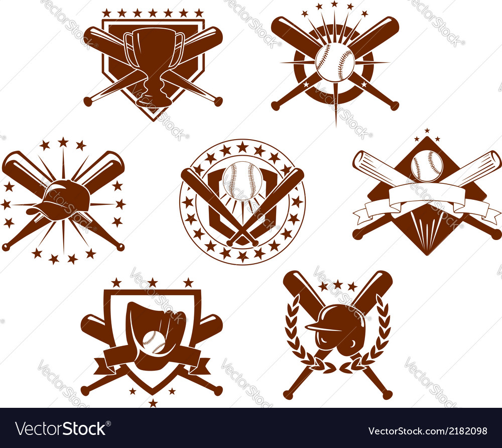 Baseball emblems set vector | Price: 1 Credit (USD $1)