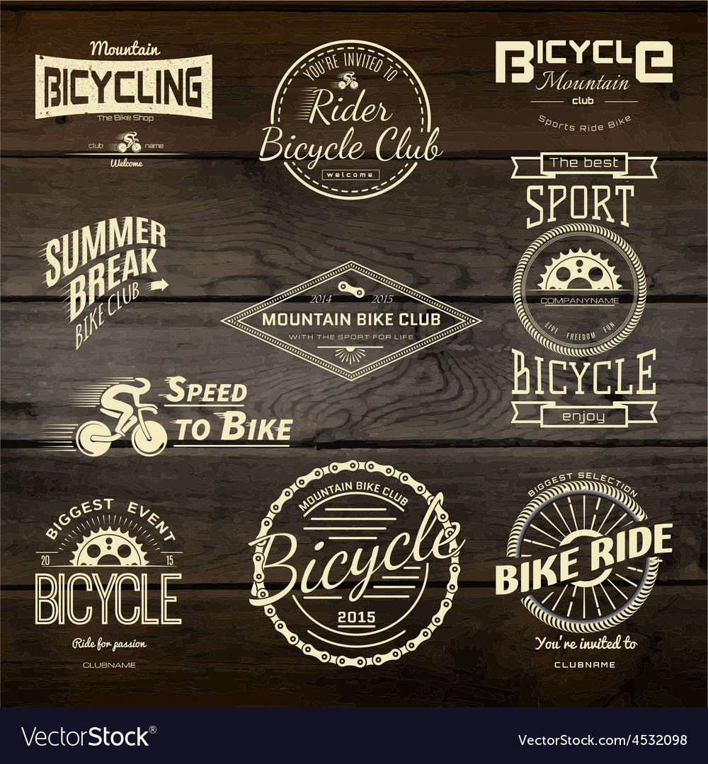 Bicycle set badges logos and labels for any use vector | Price: 1 Credit (USD $1)