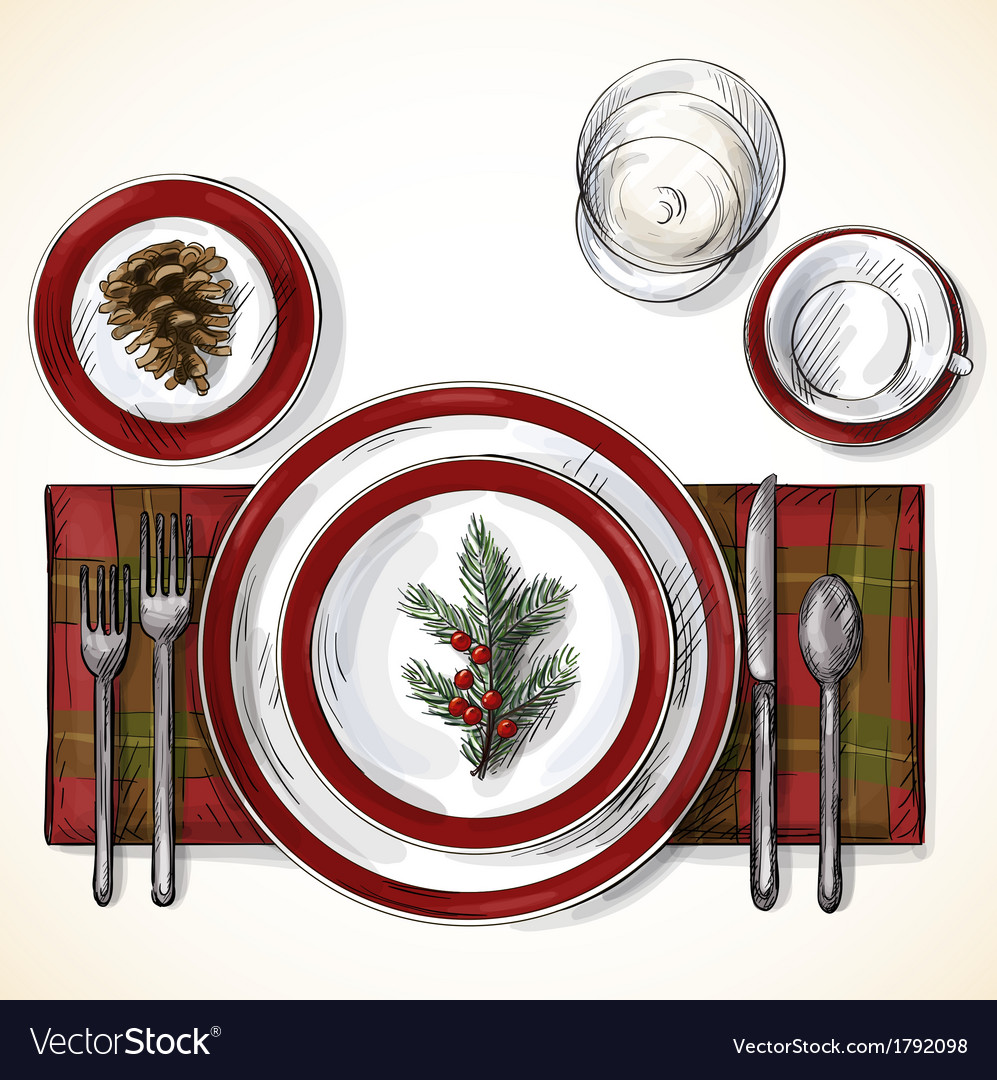 Christmas table setting vector | Price: 1 Credit (USD $1)