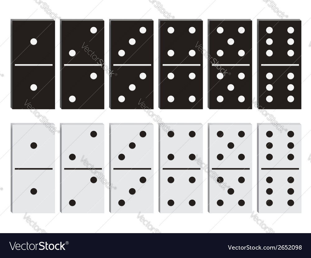 Domino black and white set vector | Price: 1 Credit (USD $1)