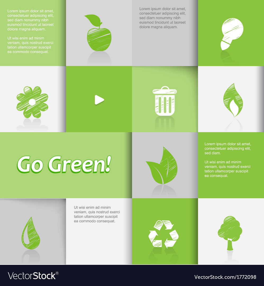 Ecology icons on green tiled background vector | Price: 1 Credit (USD $1)
