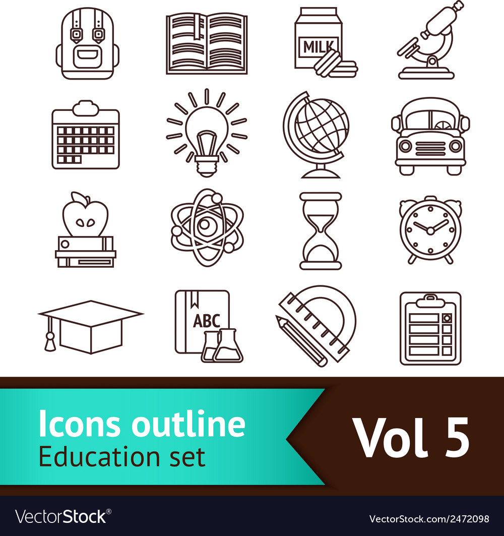 Education icons outline vector | Price: 1 Credit (USD $1)